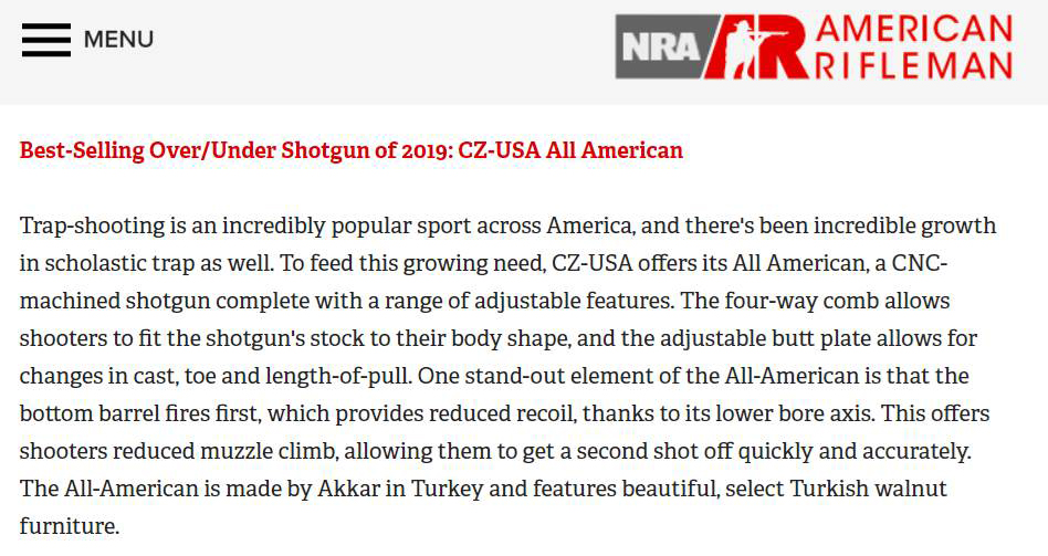 The Best Selling Shotgun in United States of America
